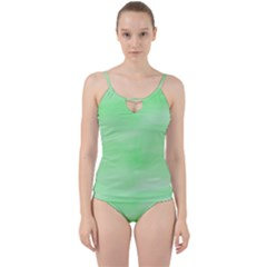Mint Watercolor Cut Out Top Tankini Set