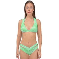Mint Watercolor Double Strap Halter Bikini Set by retrotoomoderndesigns
