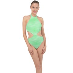 Mint Watercolor Halter Side Cut Swimsuit by retrotoomoderndesigns