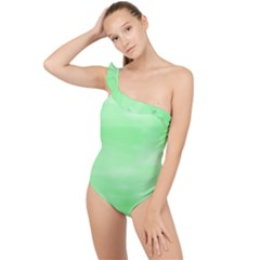 Mint Watercolor Frilly One Shoulder Swimsuit