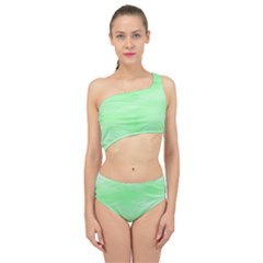 Mint Watercolor Spliced Up Two Piece Swimsuit
