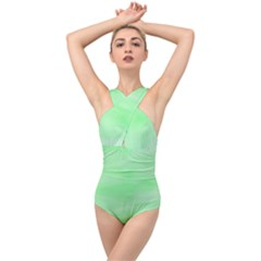 Mint Watercolor Cross Front Low Back Swimsuit by retrotoomoderndesigns