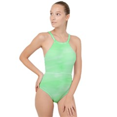 Mint Watercolor High Neck One Piece Swimsuit