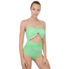 Mint Watercolor Scallop Top Cut Out Swimsuit
