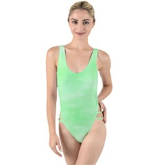 Mint Watercolor High Leg Strappy Swimsuit