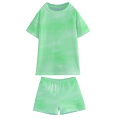 Mint Watercolor Kids  Swim Tee and Shorts Set