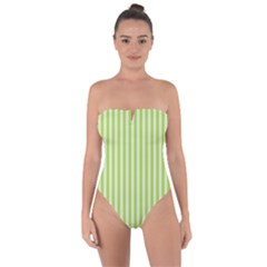 Lime Stripes Tie Back One Piece Swimsuit by retrotoomoderndesigns