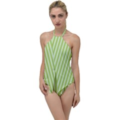 Lime Stripes Go With The Flow One Piece Swimsuit by retrotoomoderndesigns