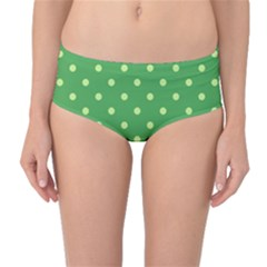 Green Polka Dots Mid-waist Bikini Bottoms by retrotoomoderndesigns