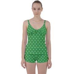 Green Polka Dots Tie Front Two Piece Tankini