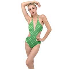 Green Polka Dots Plunging Cut Out Swimsuit