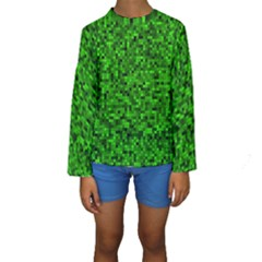 Green Mosaic Kids  Long Sleeve Swimwear by retrotoomoderndesigns