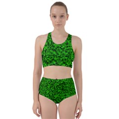Green Mosaic Racer Back Bikini Set by retrotoomoderndesigns