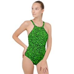 Green Mosaic High Neck One Piece Swimsuit by retrotoomoderndesigns