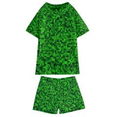 Green Mosaic Kids  Swim Tee And Shorts Set by retrotoomoderndesigns