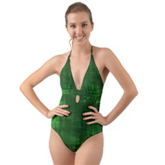 Green Grunge Halter Cut-out One Piece Swimsuit by retrotoomoderndesigns