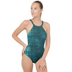 Turquoise Green Grunge High Neck One Piece Swimsuit by retrotoomoderndesigns