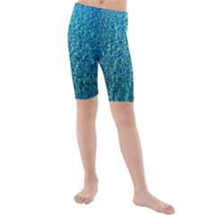Turquoise Blue Ocean Kids  Mid Length Swim Shorts