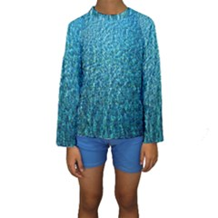 Turquoise Blue Ocean Kids  Long Sleeve Swimwear