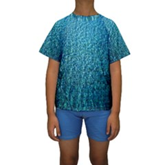 Turquoise Blue Ocean Kids  Short Sleeve Swimwear