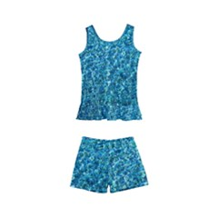 Turquoise Blue Ocean Kids  Boyleg Swimsuit