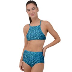 Turquoise Blue Ocean High Waist Tankini Set