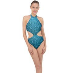 Turquoise Blue Ocean Halter Side Cut Swimsuit