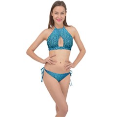Turquoise Blue Ocean Cross Front Halter Bikini Set by retrotoomoderndesigns