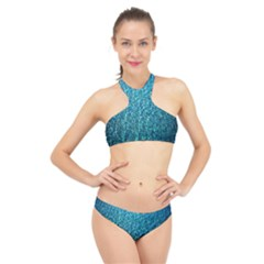 Turquoise Blue Ocean High Neck Bikini Set
