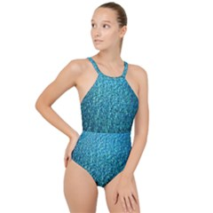 Turquoise Blue Ocean High Neck One Piece Swimsuit