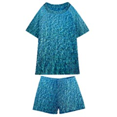 Turquoise Blue Ocean Kids  Swim Tee and Shorts Set