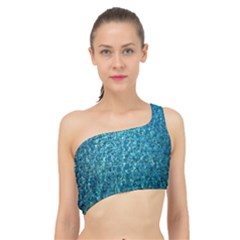 Turquoise Blue Ocean Spliced Up Bikini Top