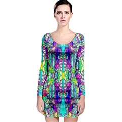 Colorful 60 Long Sleeve Bodycon Dress