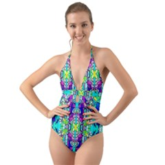 Colorful 60 Halter Cut-Out One Piece Swimsuit
