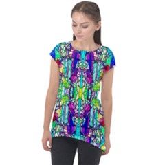 Colorful 60 Cap Sleeve High Low Top