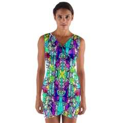 Colorful 60 Wrap Front Bodycon Dress