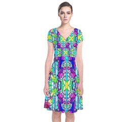 Colorful 60 Short Sleeve Front Wrap Dress