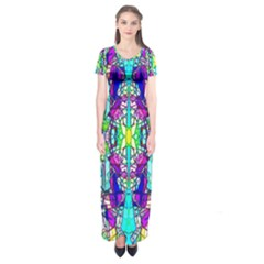 Colorful 60 Short Sleeve Maxi Dress