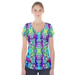 Colorful 60 Short Sleeve Front Detail Top