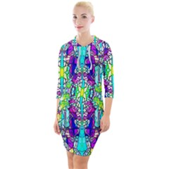 Colorful 60 Quarter Sleeve Hood Bodycon Dress
