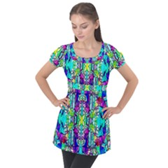Colorful 60 Puff Sleeve Tunic Top