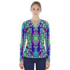 Colorful 60 V-Neck Long Sleeve Top