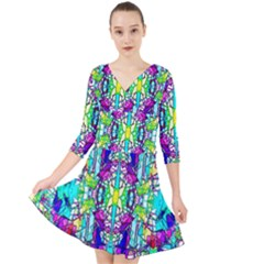 Colorful 60 Quarter Sleeve Front Wrap Dress