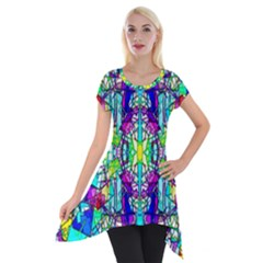 Colorful 60 Short Sleeve Side Drop Tunic