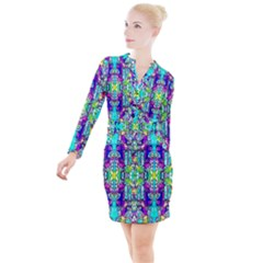 Colorful 60 Button Long Sleeve Dress