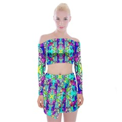 Colorful 60 Off Shoulder Top with Mini Skirt Set