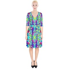 Colorful 60 Wrap Up Cocktail Dress