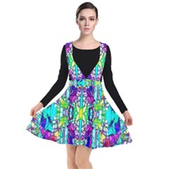 Colorful 60 Plunge Pinafore Dress