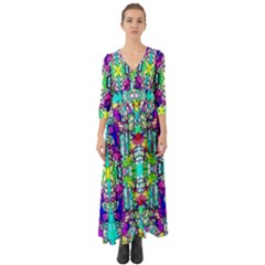 Colorful 60 Button Up Boho Maxi Dress
