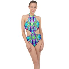 Colorful 60 Halter Side Cut Swimsuit
